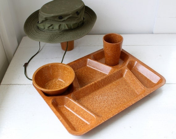 vintage army mess tray, set of 2. WW2 1940s Bolta bakelite melmac. father's day, military collectibles, tv dinners  / the THREE SQUARE tray