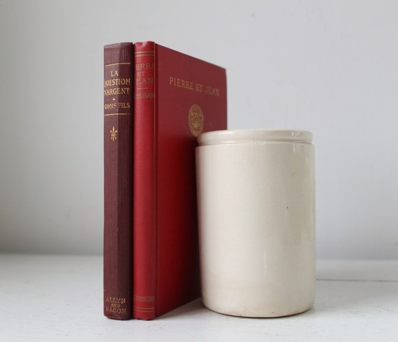 vintage French book bundle in red, 1919, 1936