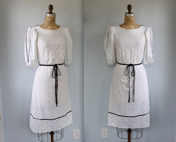 vintage daydress. Size small. White with black pinstripes and shoulder buttons. Retro secretary dress / the DESK LUNCH dress