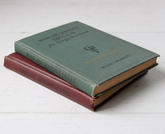vintage Gregg shorthand books, set of 2 with ephemera, 1929 and 1930 Art Deco Industrial