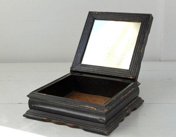 Antique wood box. Stencil lid, mirror inside. 1800s. Primitive rustic.