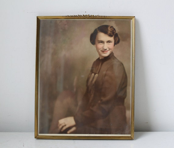 vintage 1930s photograph. hand-tinted portrait in gold metal frame. / Miss Apple Pie, Christmas 1936