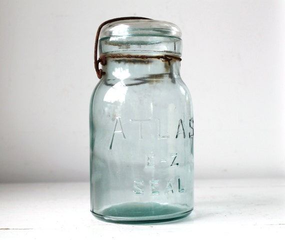 vintage 1920s ATLAS E-Z Seal canning jar. Aqua blue. Dropped A.