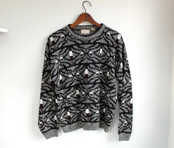 vintage 1980s Bugle Boy sweater. Men's large / OREO COOKIE crewneck