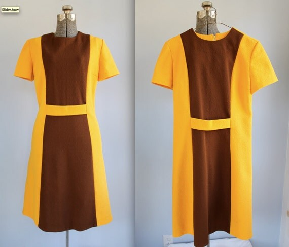 vintage colorblock dress. Mod A line, belt detail. size 8 - 10 / the SWEET n SOUR dress