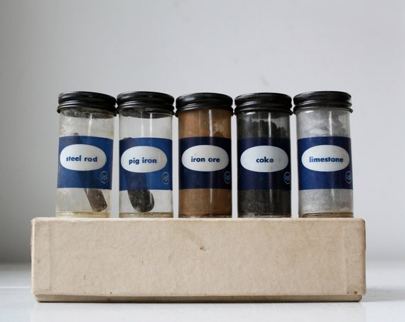vintage 1970s science sample set. Box of 5 vials. Iron, limestone, coke, steel. Geekery.