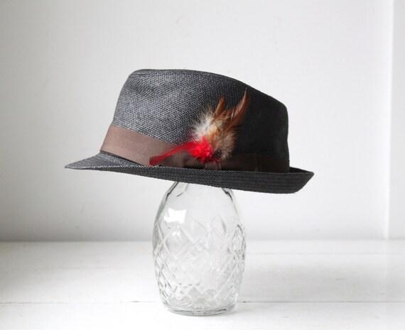 vintage gray straw fedora. 1960s pork pie style. Feather grosgrain band, stingy brim.  Rockabilly Mad Men  / the BOARDWALK TAFFY hat