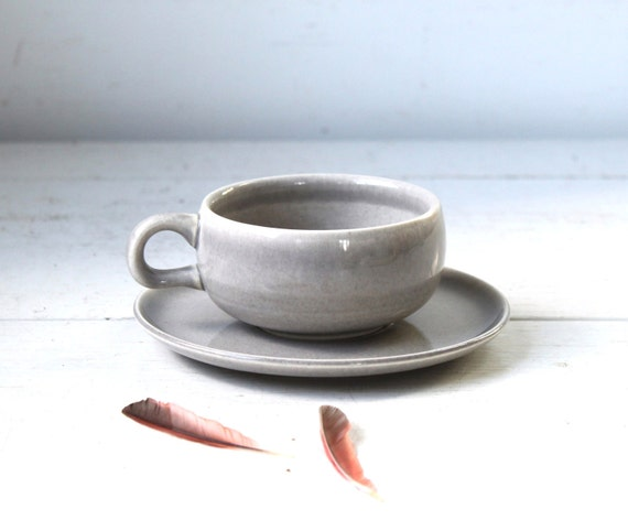 vintage Russel Wright American Modern cup and saucer. Granite grey. Mid century modern / the ART STUDENT'S TEA set