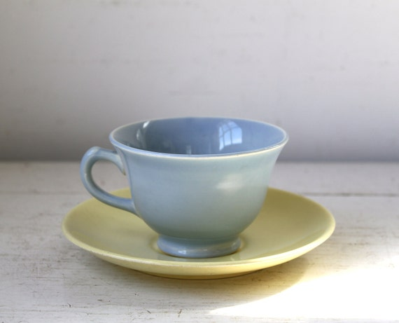 vintage 1950s LuRay Pastels cup and saucer. Yellow and blue. Modern cottage chic / the AFTERNOON COFFEE set