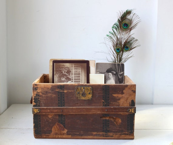 Antique 1800s doll chest. Child's chest or document box. Papered wood. Victorian rustic primitive.
