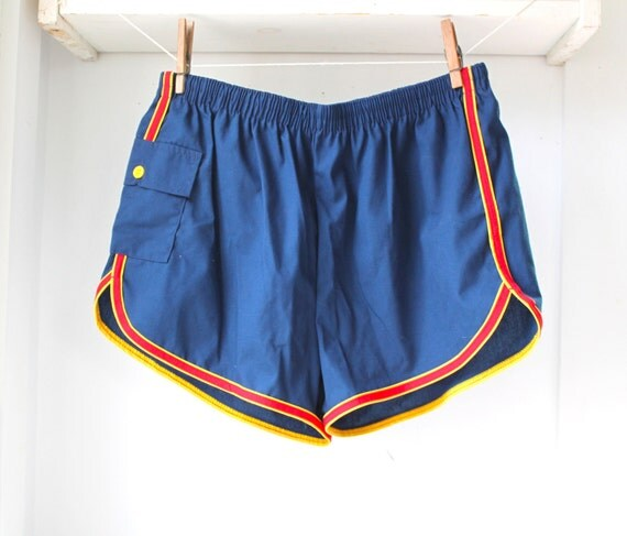 vintage 1970s blue sport shorts. Unisex Med. Royal blue yellow red. Running tennis track summer / retro athletic /