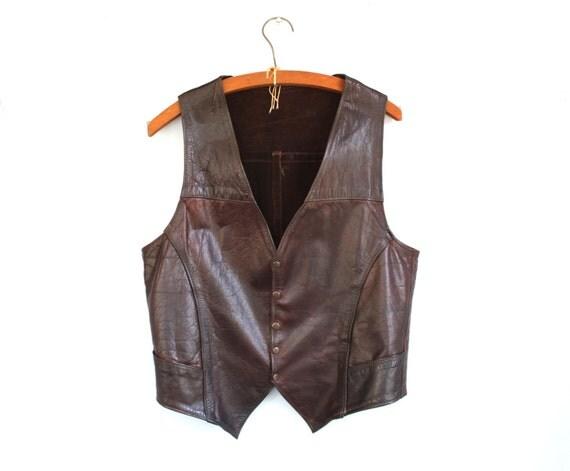 vintage 1970s leather vest / waistcoat. Men Small. Espresso brown, custom handmade. Rustic hippie biker / the COBBLER'S COFFEE vest