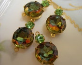 Vintage, Vitrail, Peridot, Jewel, Tourmaline, Green, Multi-Stone Charm setting (4) 20x11mm- ONE RING