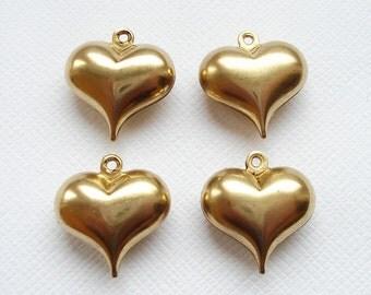 4 Raw Brass 3D Puffed Heart Pendants