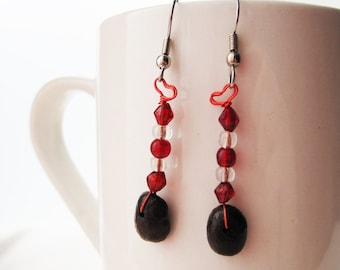 Coffee bean earrings...I Love You... Authentic Fair Trade Coffee Beans .. FREE U.S. SHIPPING