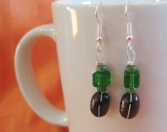 The Green Years...Authentic Fair Trade Coffee Bean Earrings .. FREE U.S. SHIPPING