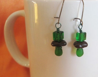 Wearing of the Green...Authentic Fair Trade Coffee Bean Earrings .. FREE U.S. SHIPPING