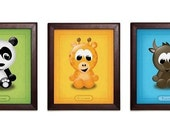Any 3 - ABC Animal Giclee Art Prints - 8 in. x 10 in.