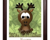 M is for Moose 8 x 10 Print