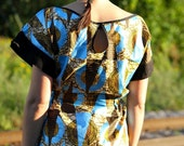Africanista dress psychedelic-BLUE-BLACK-pyramid print SALE SALE ONE SIZE LEFT M