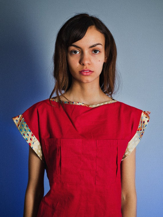 "Top Red Boat Neck Linen ""Cambodiana""  Last sizes ON SALE"