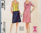 Vintage 1960s McCall's Sewing Pattern 7709  MOD Long Waistline, A Line Dress has  U -neckline with Collar & Sleeve Variations Sz 14, Bust 34