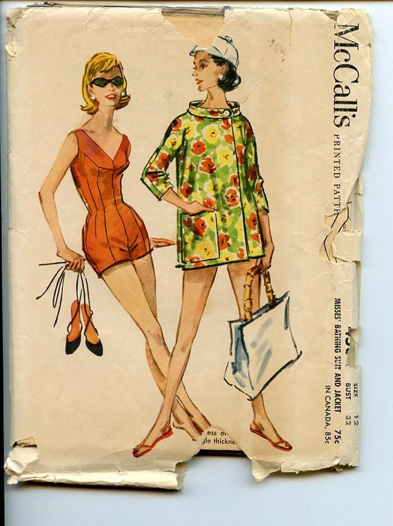 Vintage 1950s McCall's 4534 Pattern Misses' Bombshell Lined Bathing Suit & Jacket Sz 12 32 Bust