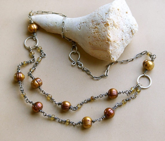 SALE . Bronze Pearls Sterling Silver Two Strand Necklace . Rustic Southwest Boho Tribal Inspired Jewelry
