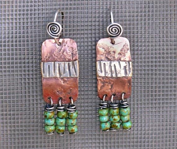 The Tribe Has Spoken . Field Trip Earrings . Sterling Silver, Copper, Tiny Rustic Glass Beads