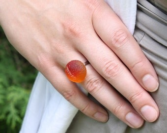 SALE - Lampworked Glass Sour Peach Ring