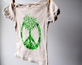 Tree of Life - Peace Symbol - TShirt - Organic and Sustainable - 18 - 24 month - Hand Dyed Khaki and Screenprinted in Green Ink