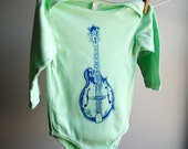 Mandolin Screen Printed Long Sleeved Bodysuit, Pastel Mint Green with Blue Ink, sized 12 to 18 month