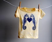 Two Sea Horses and Heart Tshirt - Hand Dyed Daisy Yellow Burnout with Dark Blue Screen Printed Ink - 3 to 6 month