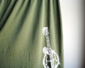 Mandolin Screen Printed Babydoll Shirt, Olive Green with White Ink, Womens Large