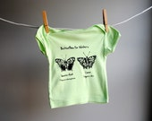 Winguistic Linguistics - Butterflies for Writers  - Organic Shirt, Hand Dyed Spring Green and screen printed with Black Ink, sized 3 to 6 month