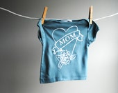 Mom Tattoo Heart Organic TShirt, Hand Dyed Slate Green and screen printed with White Ink, sized 3 to 6 month
