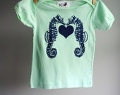 Sea Horses T-Shirt - 18 to 24 month-  Organic and Sustainable - Hand Dyed Mint Green with Navy Blue Screen print