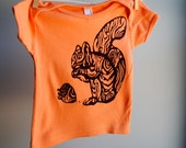 Half Price Faux Bois Squirrel and Acorn Organic TShirt - Hand Dyed Melon Orange  and screen printed in Brown ink - 6 to 12 months