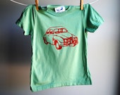 Saab 1972 Car - Organic T-Shirt, Screen printed with Red ink on Fern Green T-Shirt, sized 4 toddler