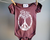 Peace - Tree of Life - Organic Infant Bodysuit,  Hand Dusky Mulberry and screen printed with White Ink, sized 3 to 6 month