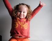 BMX Bike Shirt, Organic Long Sleeved Burnt Sienna Brown Golden Yellow ink.  Kids Shirt -  12  months