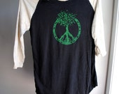 Peace Tree of Life - Baseball Style Burnout Shirt - Natural and Black screen printed in green ink - 3/4 sleeves - Unisex Medium
