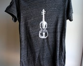 Fiddle - Violin Unisex T-Shirt, Man or Woman - Eco-Heather Black with White Print - Large