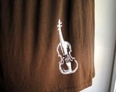 Fiddle - Violin  Babydoll Shirt, Cocoa Brown with White Ink, Womens Large