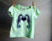 Sea Horses and Heart Organic TShirt, Sized 2 Toddler, Pastel Green with Navy Blue Screen Printed Ink