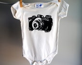 Vintage Camera Organic Infant Bodysuit-- Hand Dyed Off White Ecru and screen printed in Black ink - 6 to 12 months