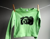 Vintage Camera Long Sleeved Shirt,  Sized 2 Toddler (but runs small) -Bright Green with Black Screen Printed Ink