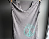 Tree of Life - Peace Symbol Tank - Sleeveless TShirt - Elephant Grey with Aqua Green - Blue Screen Printed  - Size Small