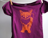 Fox Infant Shirt, Organic, Hand Dyed Deep Plum and Screen Printed with Orange Ink, sized 12 to 18 month