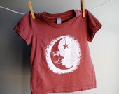 Man in the Moon, Organic, Hand Dyed Clay Reddish Brown  with White Screen Printed Ink, 2 toddler